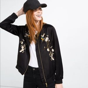 Super RARE Zara Embroidered bomber jacket